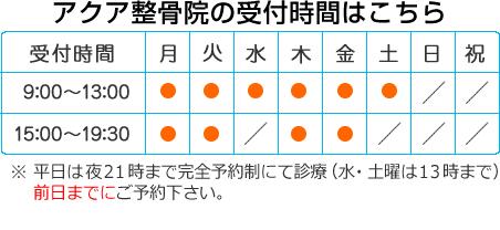 アクア整骨院~大津駅前店~の受付時間